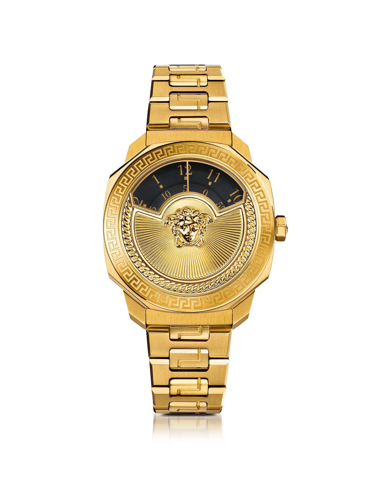Versace Women's Watches, Dylos Icon Gold IP Stainless Steel Unisex Watch w/Black Discs and Medusa