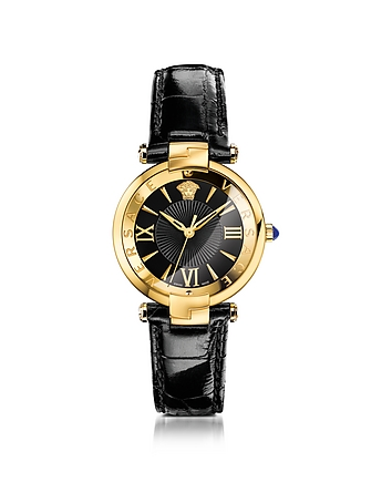 Versace - Revive 3H Black and PVD Gold Plated Women's Watch w/Croco Embssed Band