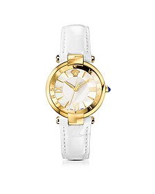 Revive 3H White and PVD Gold Plated Women's Watch w/Croco Embssed Band - Versace