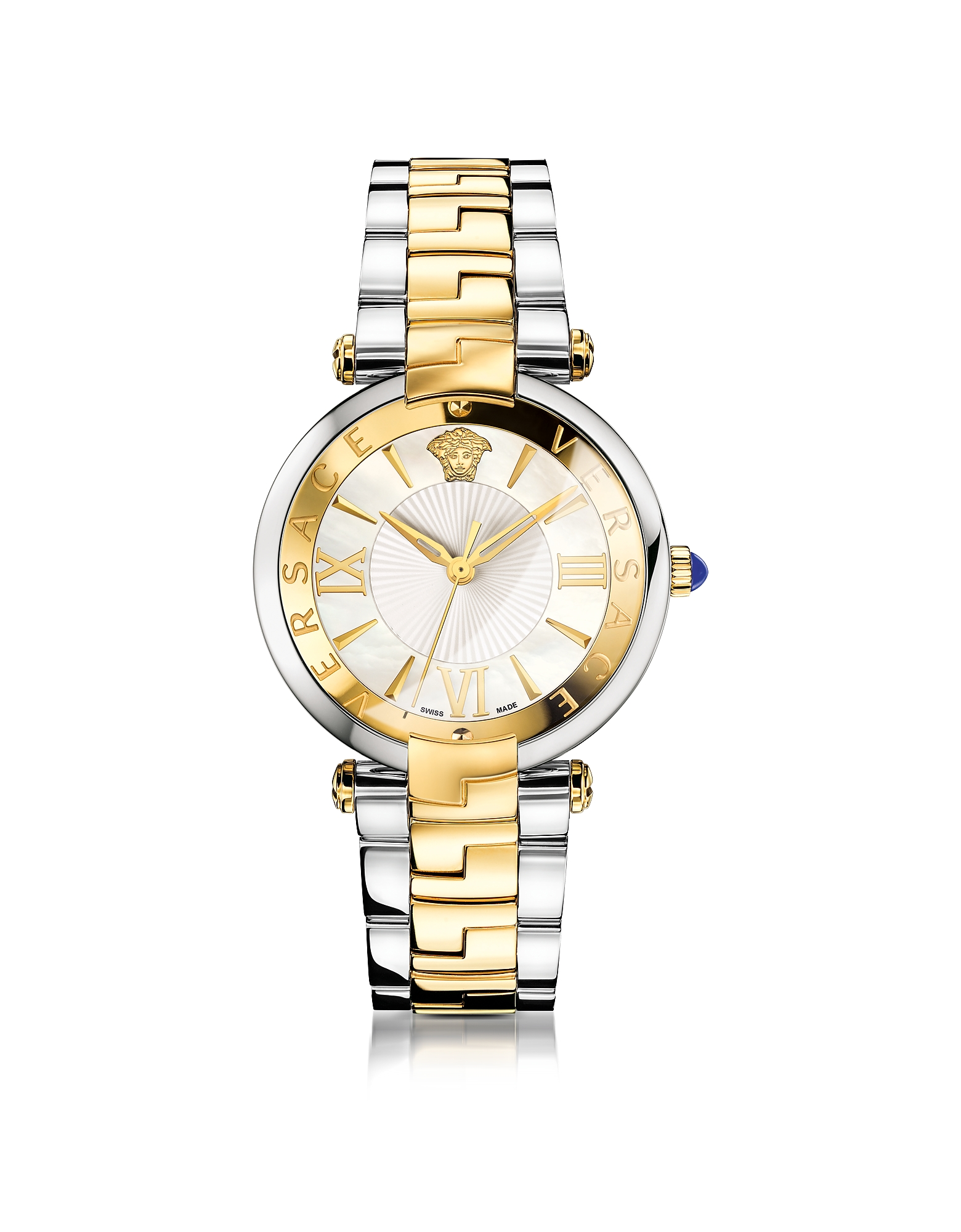 Versace Women's Watches, Revive 3H Stainless Steel and PVD Gold Plated Women's Watch w/White Mother