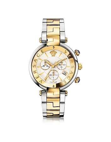 Versace - Revive Chrono Stainless Steel and PVD Gold Plated Women's Watch w/White Mother of Pearl Di