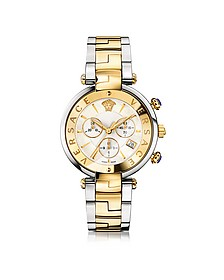 Revive Chrono Stainless Steel and PVD Gold Plated Women's Watch w/White Mother of Pearl Dial - Versace