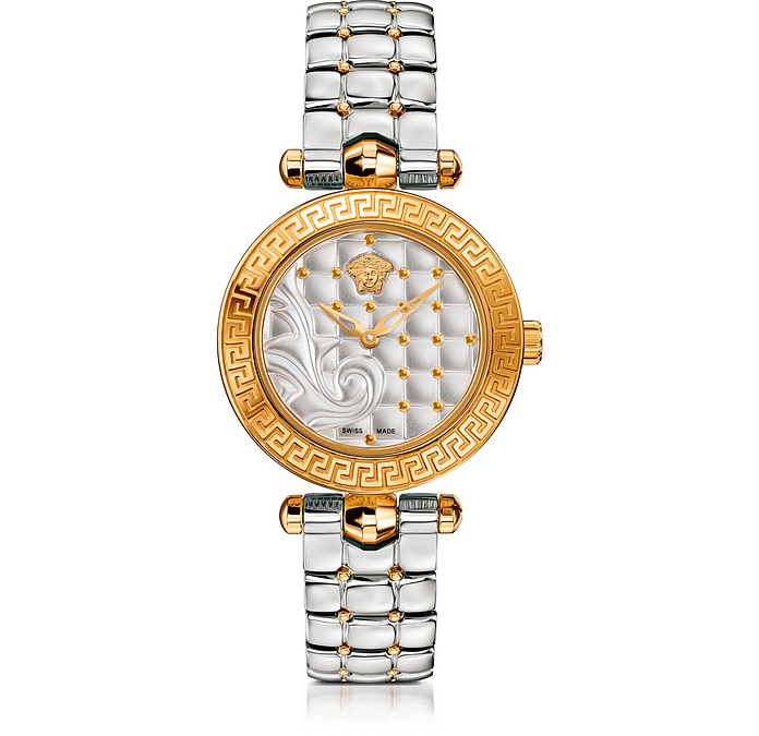 Micro Vanitas Stainless Steel and PVD Gold Plated Women's Watch w/Baroque Pattern Dial - Versace