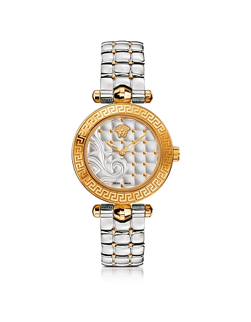 Micro Vanitas Stainless Steel and PVD Gold Plated Women's Watch w/Baroque Pa..