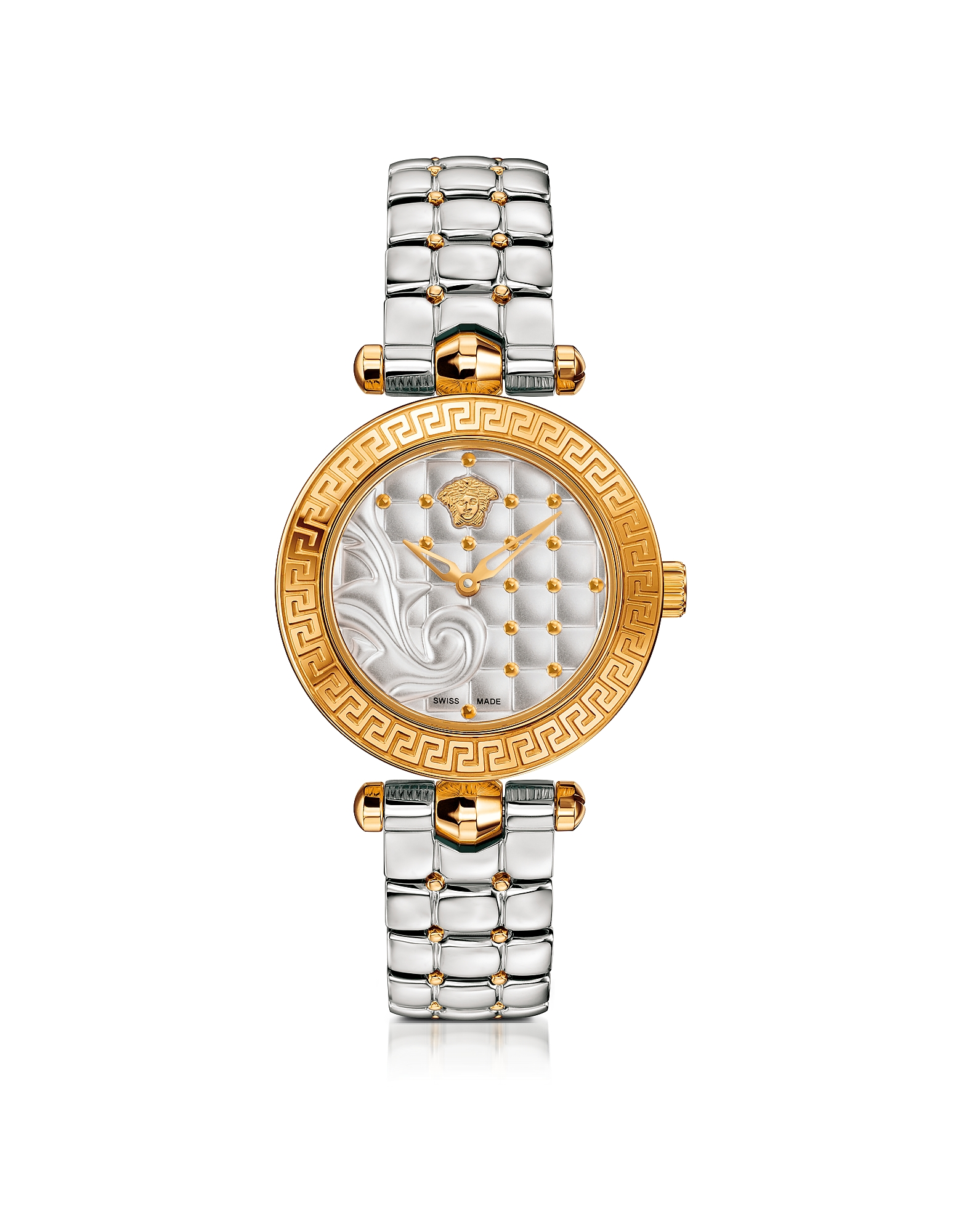 Versace Women's Watches, Micro Vanitas Stainless Steel and PVD Gold Plated Women's Watch w/Baroque P