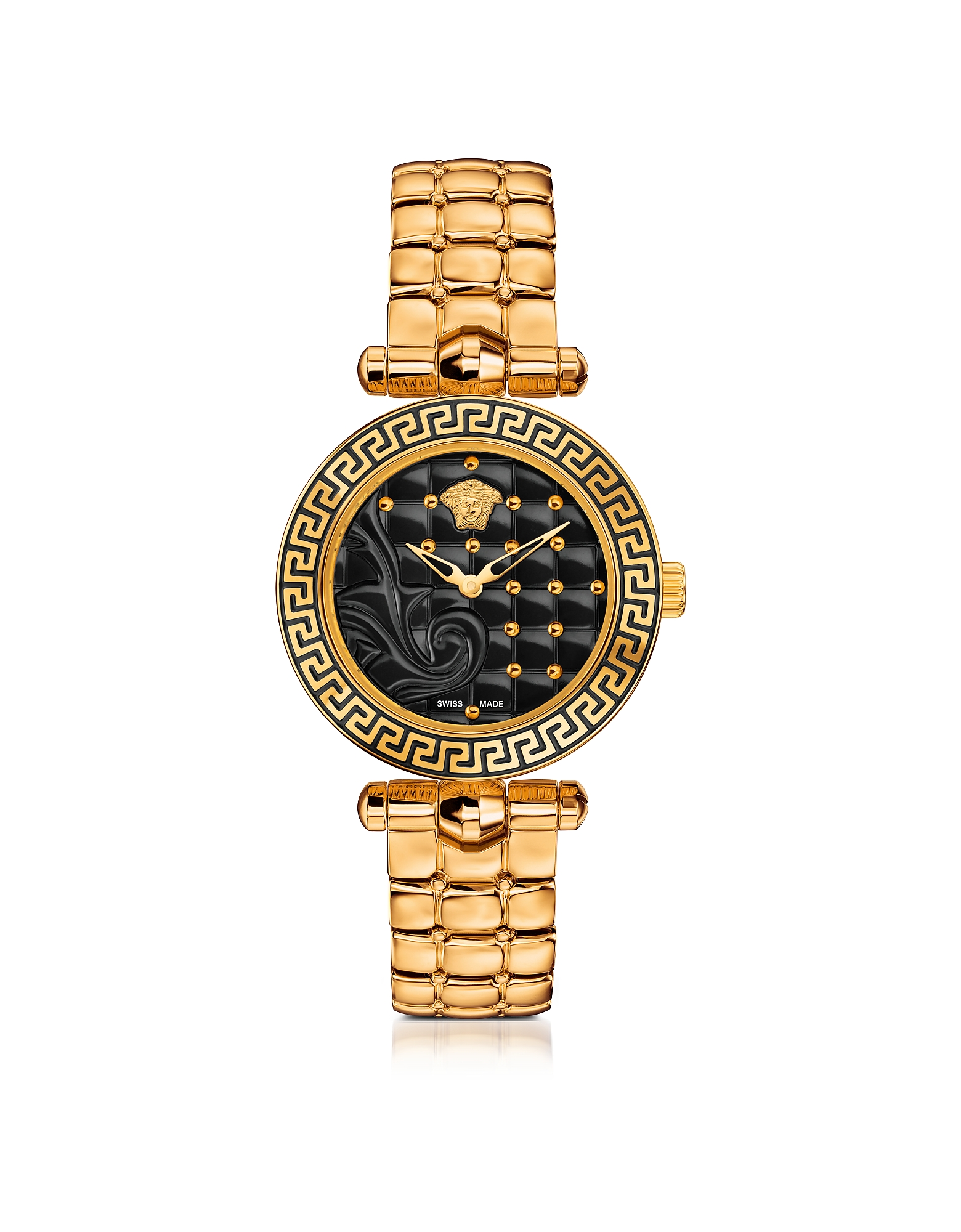 Versace Women's Watches, Micro Vanitas PVD Gold Plated Women's Watch w/Baroque Black Dial