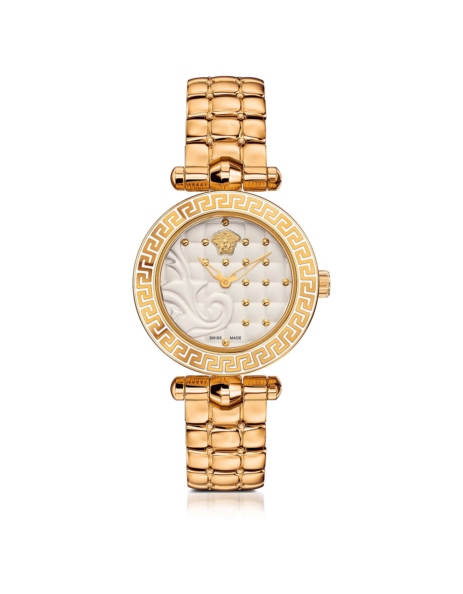 Versace Women's Watches, Micro Vanitas PVD Gold Plated Women's Watch w/Baroque White Dial