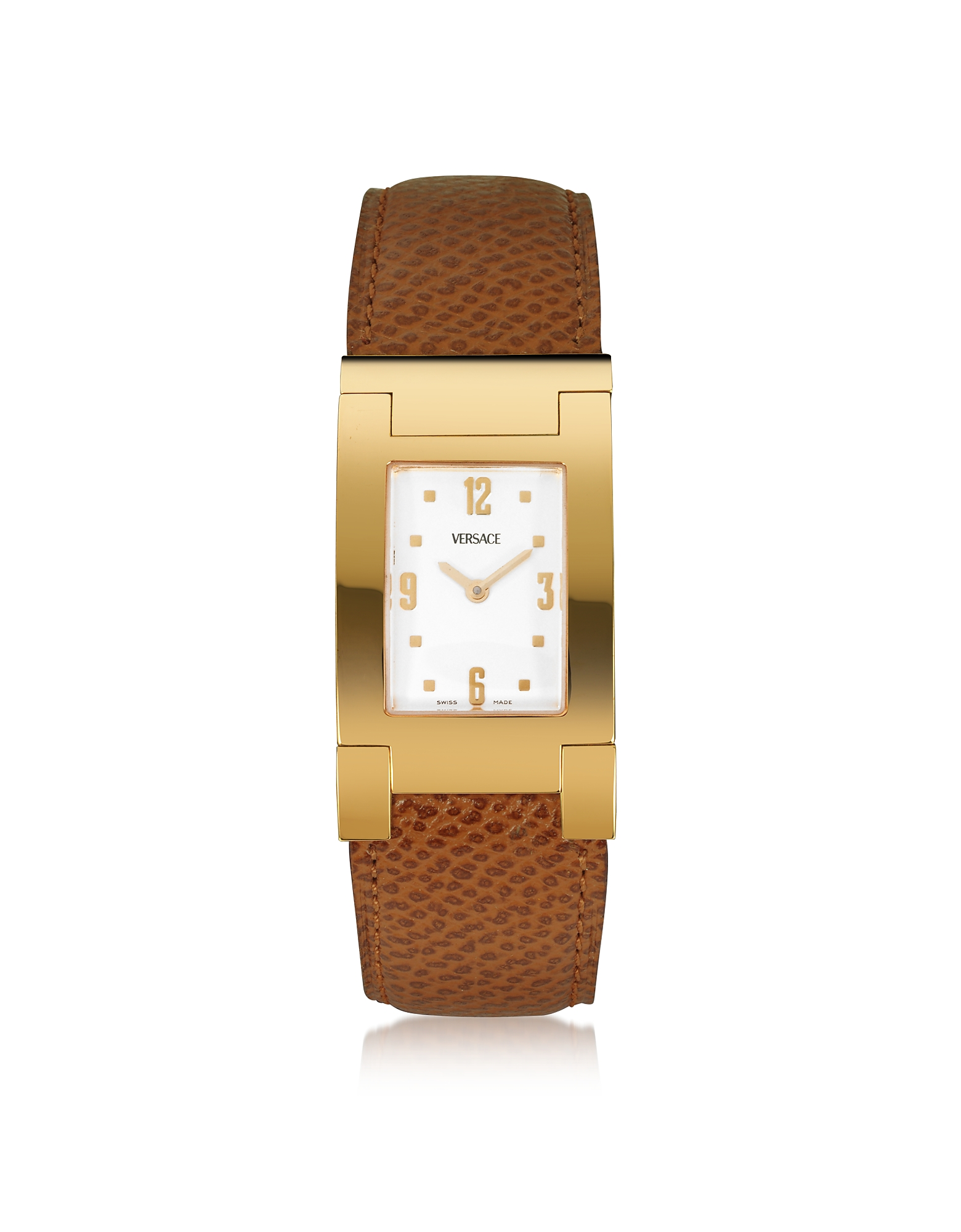 On Fifth - Men's Gold Plated Brown Leather Watch