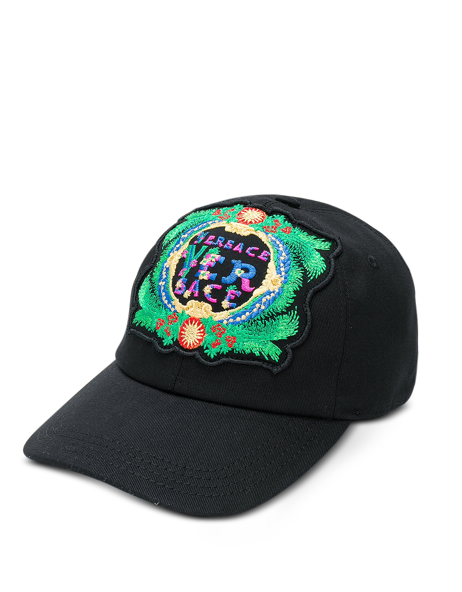 Black Cotton Unisex Baseball Cap w/Beverly Palm Embroidery