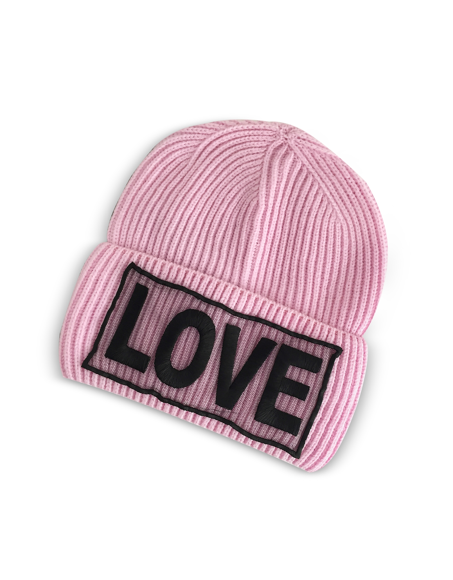 Versace Women's Hats, Love Manifesto Pink Wool Knit Hat