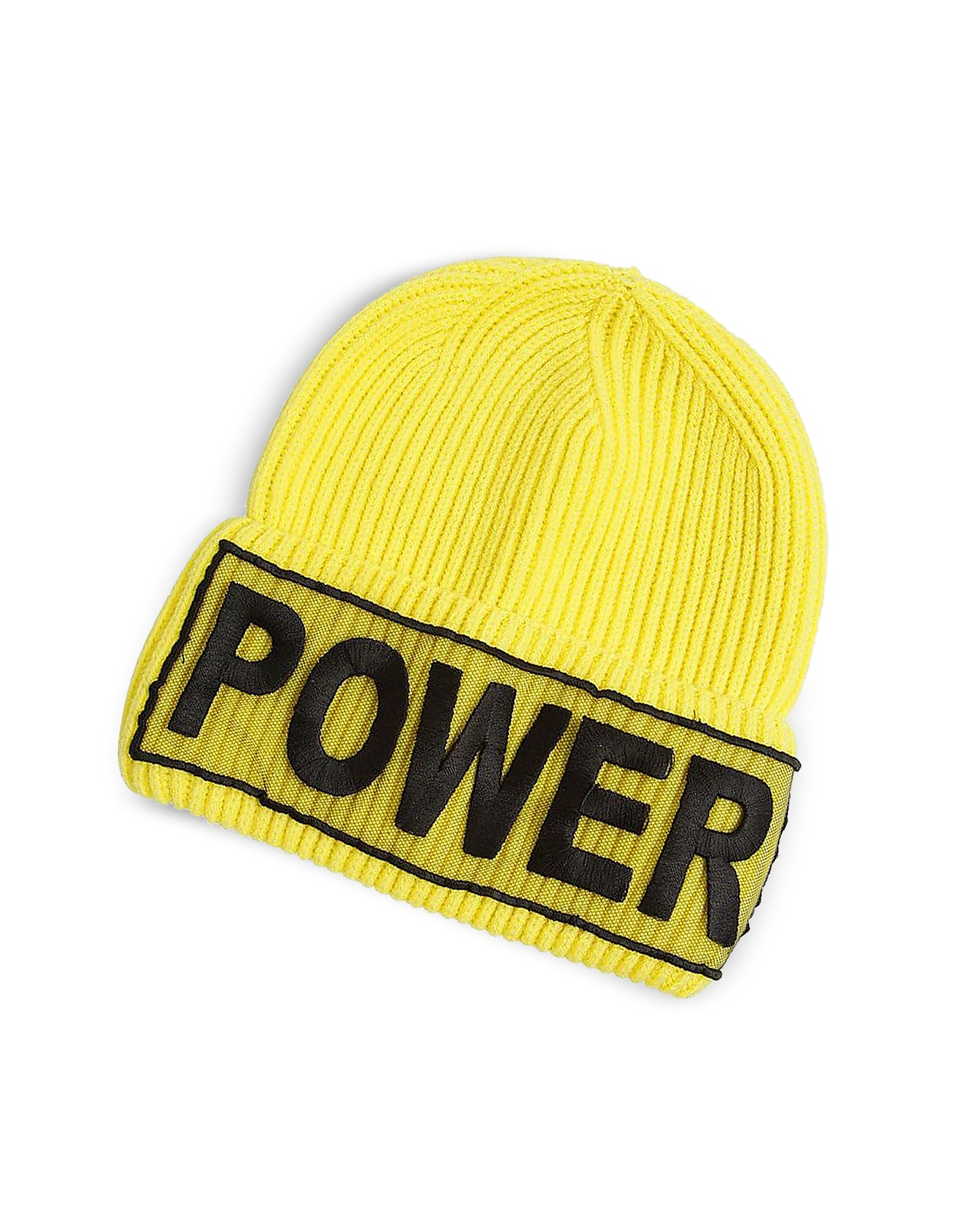 Versace Women's Hats, Power Manifesto Bright Yellow Wool Knit Hat