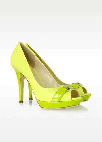 Neon Yellow Leather Platform Pump - Versace