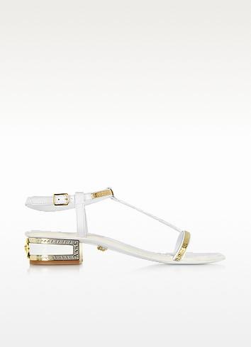 Leather Micro Vanitas Mid-Heel Sandal - Versace