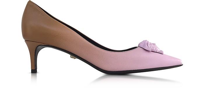 Palazzo Gradient Leather Kitten Heel Pumps - Versace