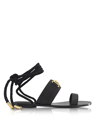 Versace Sandalo Flat in Pelle Nera con Logo Medusa