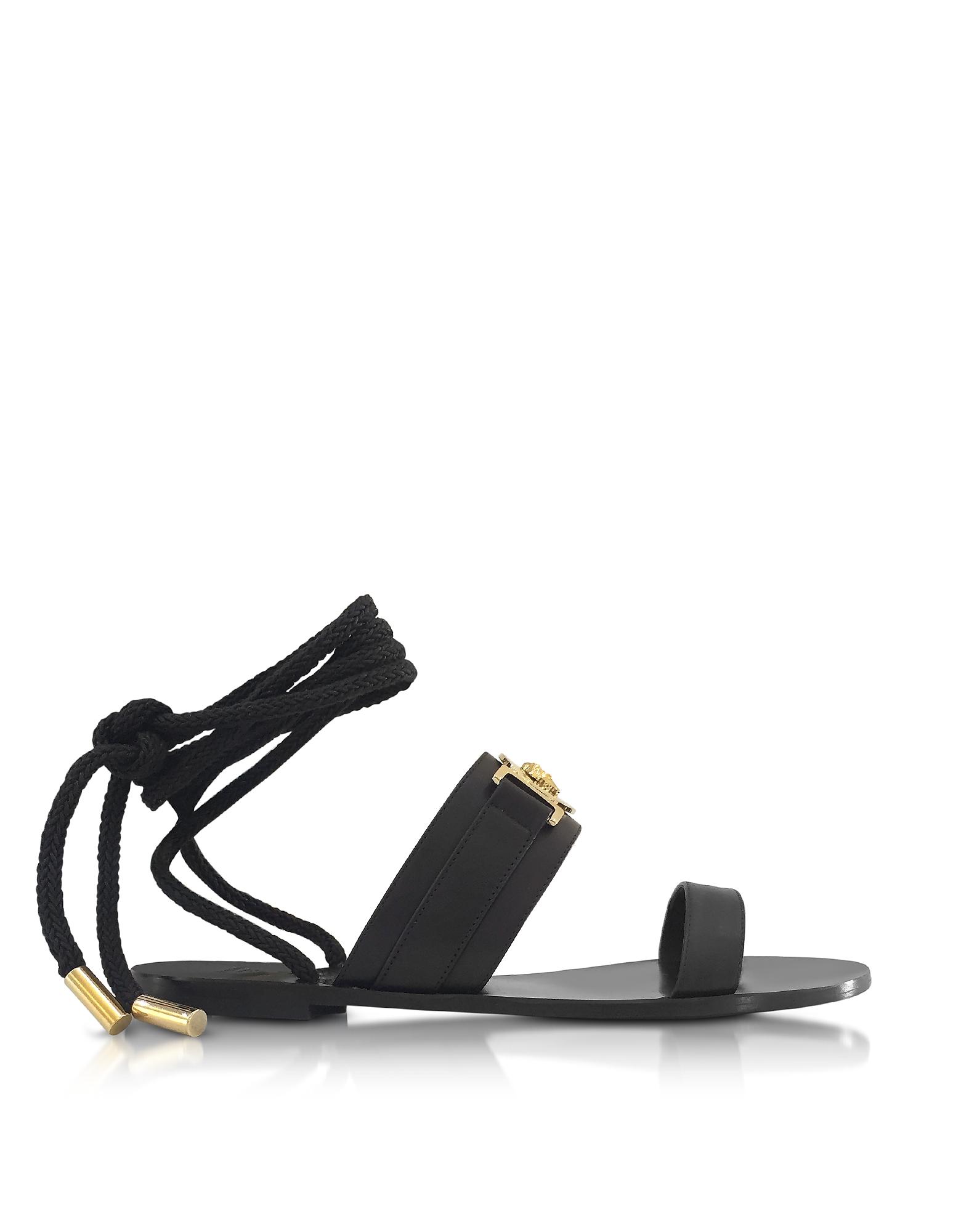 Фото Черные Кожаные Сандалии с Завязками на Щиколотке. Купить с доставкой