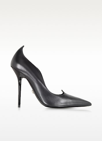 Curvy Black Leather Pump - Versace