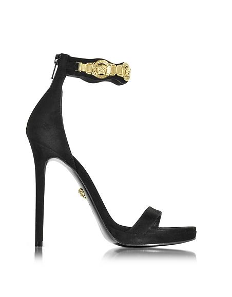 Foto Versace Sandalo in Pelle Nera con Plateau e Logo Medusa Scarpe
