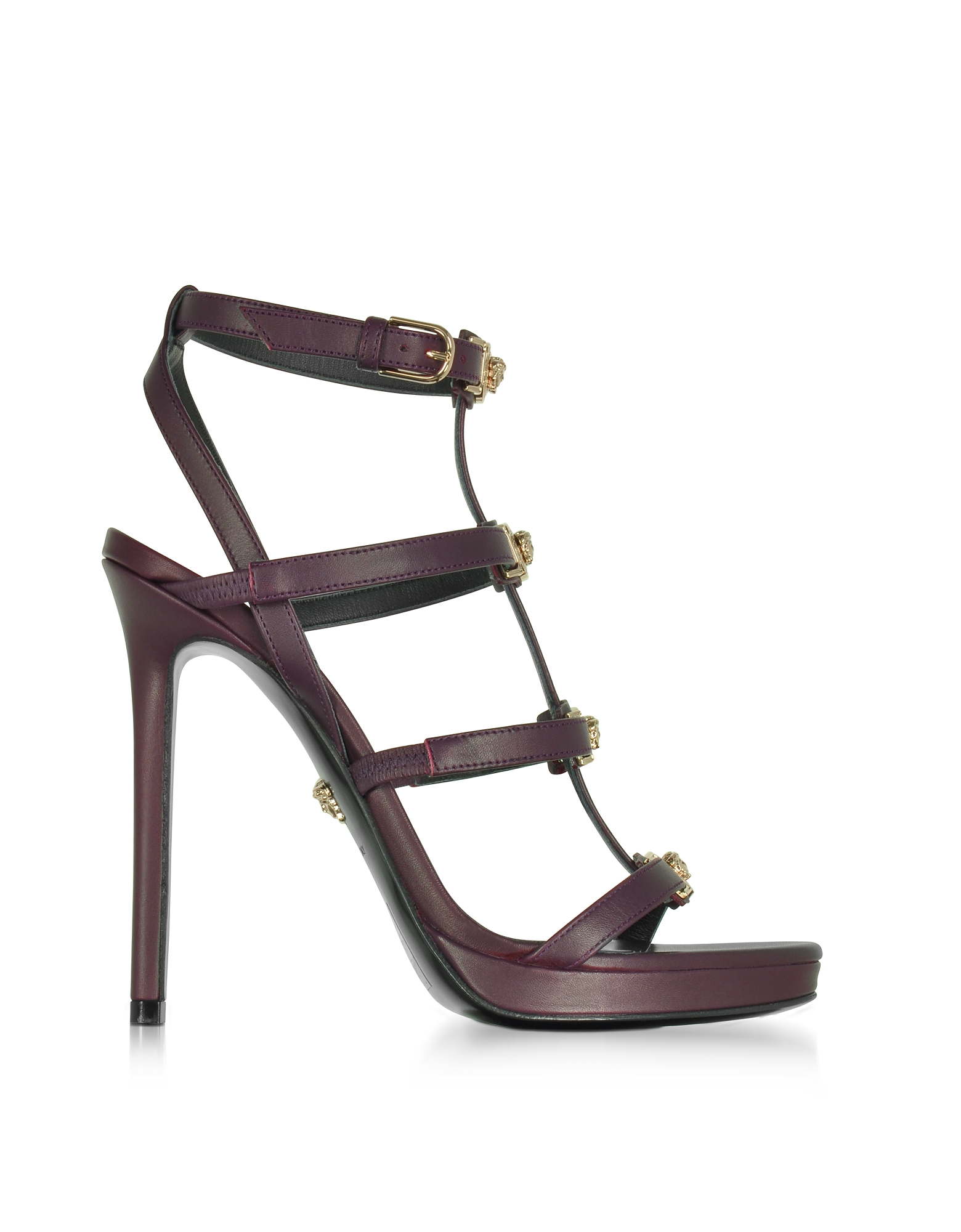 Versace Shoes, Burgundy Leather Sandal w/Light Gold Medusa
