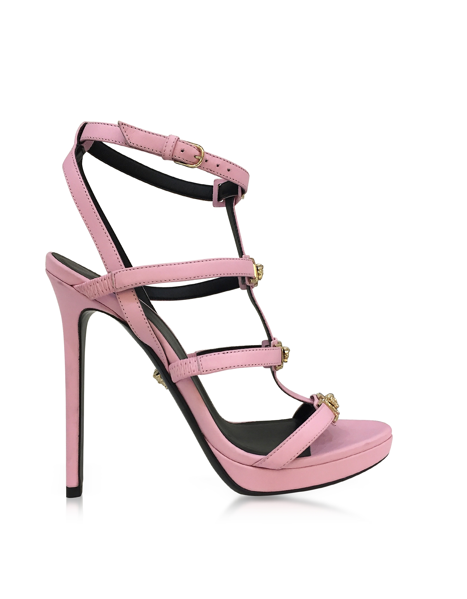 Versace Shoes, Pink Leather Sandal w/Light Gold Medusa