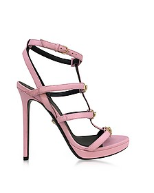 Pink Leather Sandal w/Light Gold Medusa - Versace