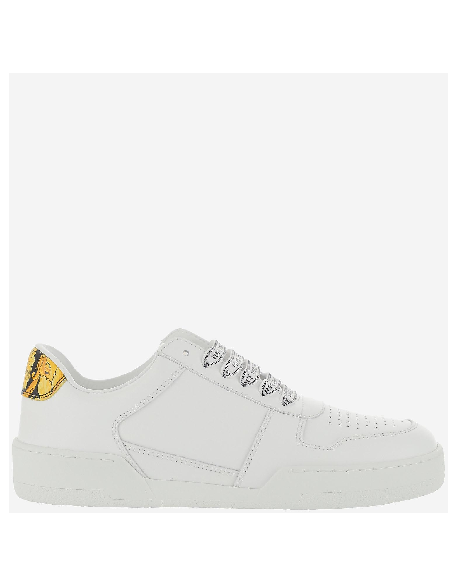 Versace Designer Shoes, White and Gold Leather Low Top Women's Sneakers