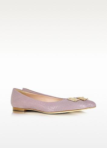 Mauve Leather Ballerina Shoe - Versace