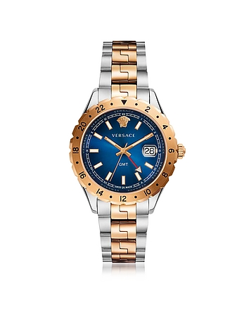 Hellenyium GMT Stainless Steel Men's Watch w/Greek Inserts and Blue Dial