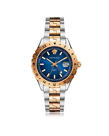 Hellenyium GMT Stainless Steel Men's Watch w/Greek Inserts and Blue Dial - Versace