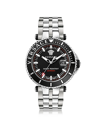 Versace - V-Race Diver Stainless Steel Men's Watch w/Black Dial