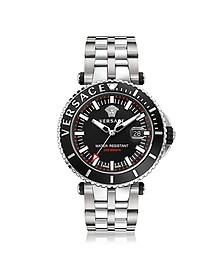 V-Race Diver - Мужские Часы из Нержавеющей Стали с Черным Циферблатом - Versace