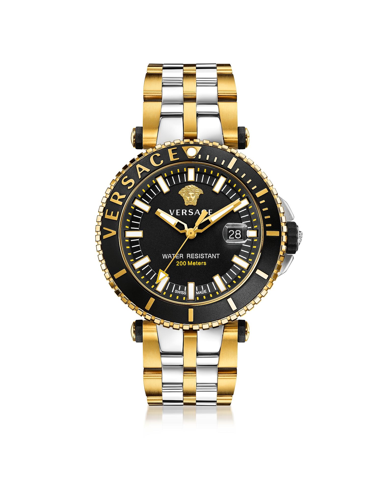 Фото V-Race Diver - Мужские Часы из Нержавеющей Стали с Позолотой и Черным Циферблатом. Купить с доставкой