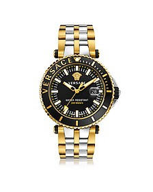 V-Race Diver Stainless Steel and PVD Gold Plated Men's Watch w/Black Dial - Versace
