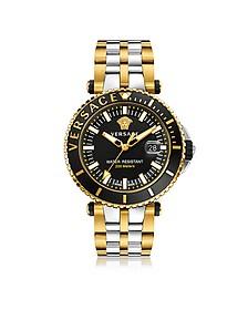 V-Race Diver - Мужские Часы из Нержавеющей Стали с Позолотой и Черным Циферблатом - Versace