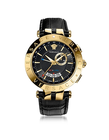 Forzieri DE Versace V-Race GMT Alarm Black and PVG Gold Plated Men's Watch