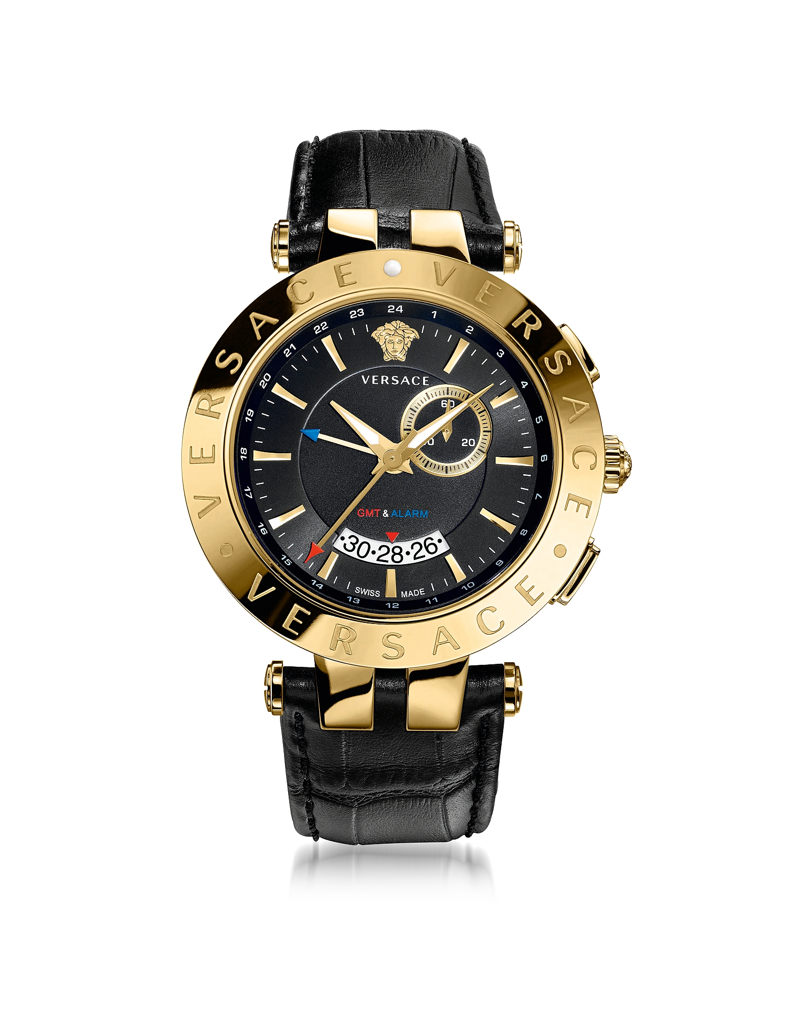 Фото V-Race GMT Alarm - Черные и Позолоченные Мужские Часы. Купить с доставкой