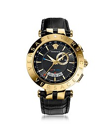V-Race GMT Alarm Black and PVG Gold Plated Men's Watch - Versace