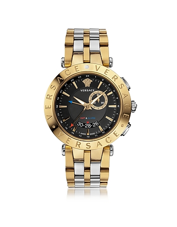 Forzieri DE Versace V-Race GMT Alarm Silver and PVG Gold Plated Men's Watch w/Black Dial