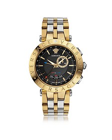 V-Race GMT Alarm Silver and PVD Gold Plated Men's Watch w/Black Dial - Versace