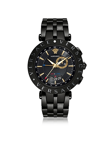 Versace - V-Race GMT Alarm Black Plated Men's Watch