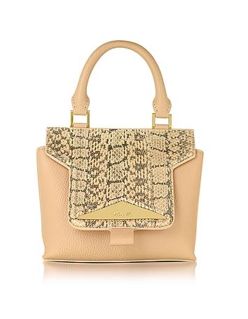 Mosaic 20 Foie Gras Beige Ayers & Leather Mini Satchel Bag w/Shoulder Strap