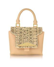 Mosaic 20 Foie Gras Beige Ayers & Leather Mini Satchel Bag w/Shoulder Strap - Vionnet