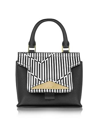 Mosaic 20 Orchid White & Black Optical Print Leather Mini Satchel Bag w/Shoulder Strap