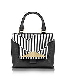 Mosaic 20 Orchid White & Black Optical Print Leather Mini Satchel Bag w/Shoulder Strap - Vionnet