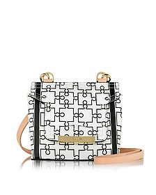 Mosaic 15 Orchid White & Black Puzzle Print Leather Micro Crossbody Bag - Vionnet