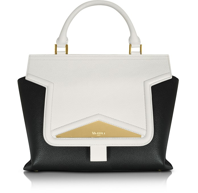 Mosaic 30 Color Block Leather Medium Satchel Bag w/Shoulder Strap - Vionnet