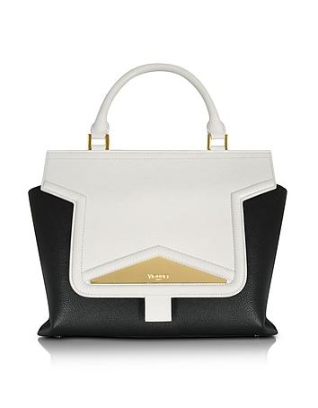 Mosaic 30 Color Block Leather Medium Satchel Bag w/Shoulder Strap