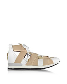 White Leather and Beige Mesh Sneakers - Vionnet