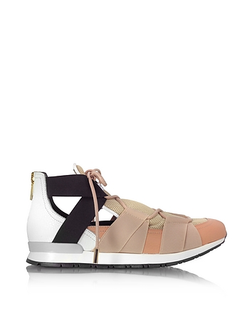 Vionnet - White Leather and Multicolor Elastic Bands Sneakers
