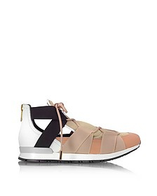 White Leather and Multicolor Elastic Bands Sneakers - Vionnet